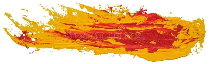 Röd och gul smutsig prickig slaglängd för borste för oljatexturmålarfärg royaltyfri foto