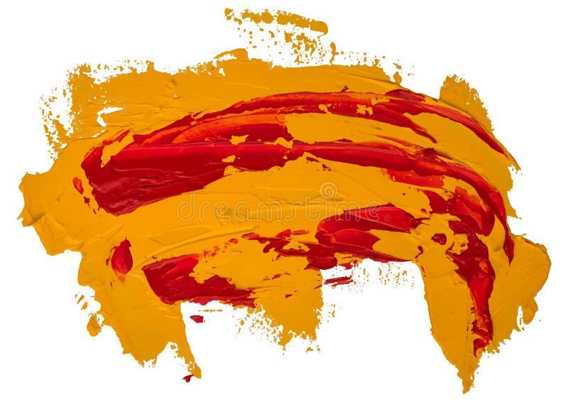 Röd och gul smutsig prickig slaglängd för borste för oljatexturmålarfärg stock illustrationer