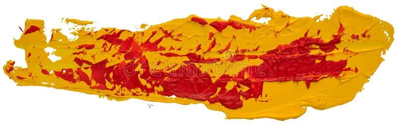 Röd och gul smutsig prickig slaglängd för borste för oljatexturmålarfärg royaltyfri illustrationer