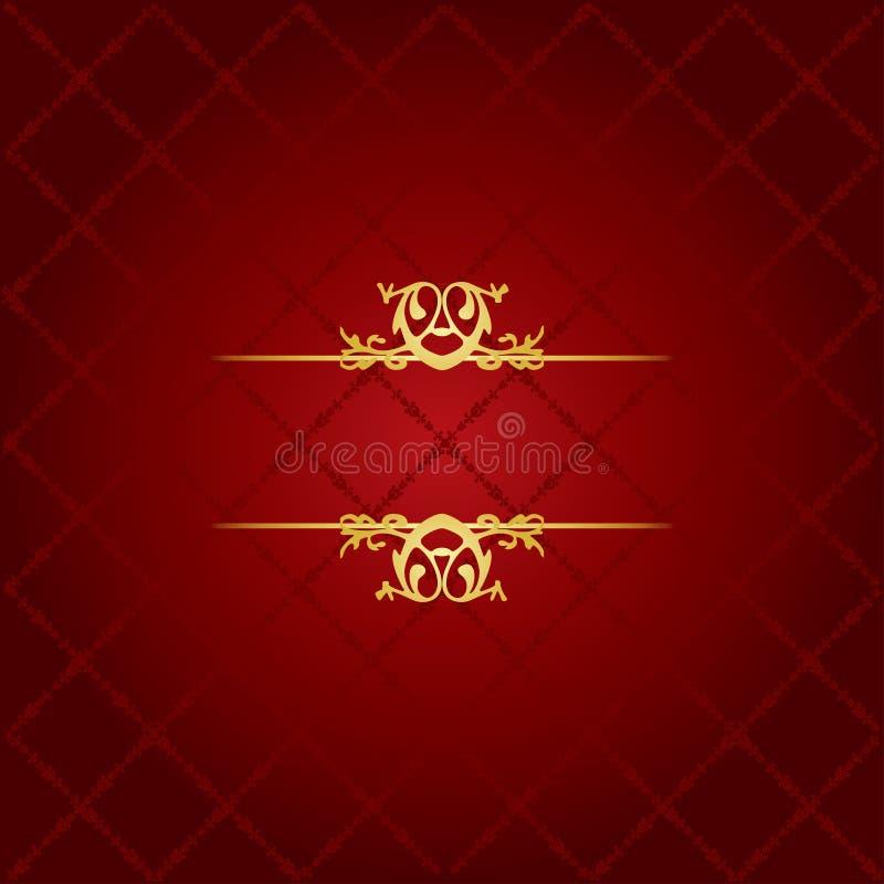 Röd & guld- bakgrund stock illustrationer