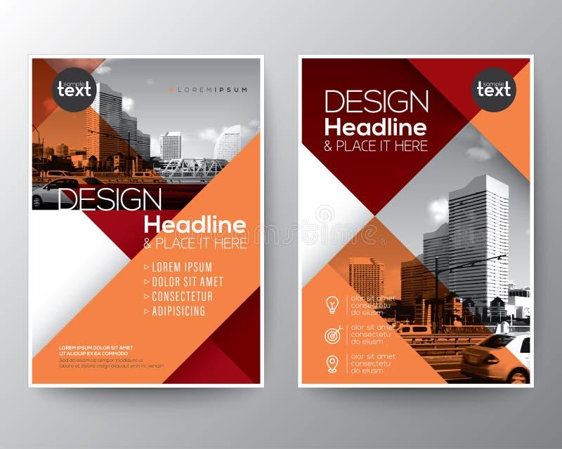 Röd och orange diagonal linje reklamblad för broschyrårsrapporträkning vektor illustrationer