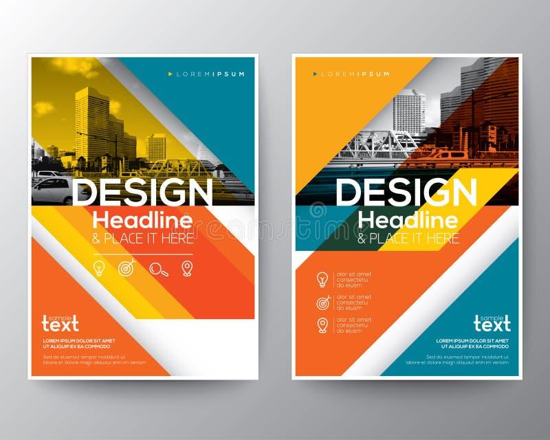 Röd och orange diagonal linje reklamblad för broschyrårsrapporträkning royaltyfri illustrationer