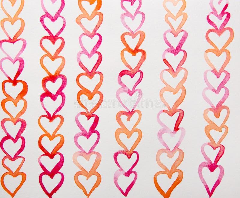 Röd och orange hjärtavattenfärg stock illustrationer
