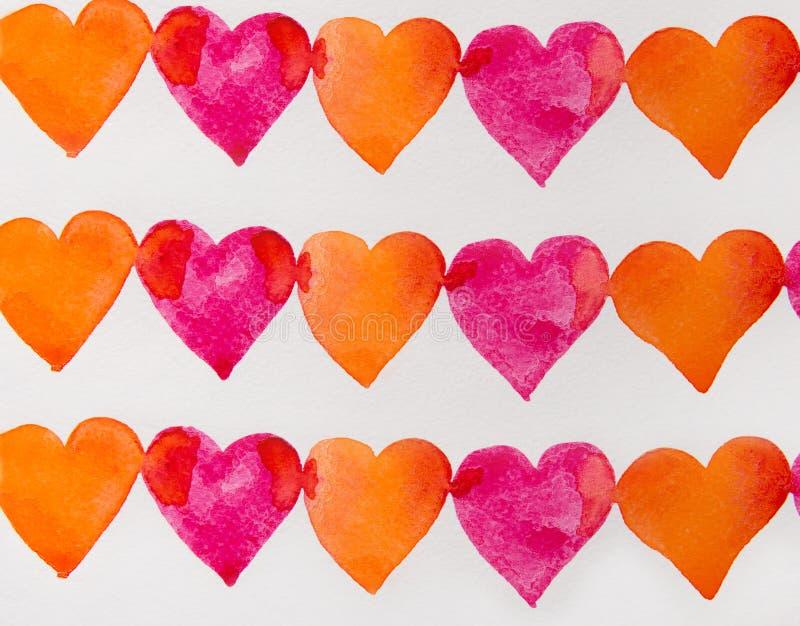 Röd och orange hjärtavattenfärg royaltyfri illustrationer