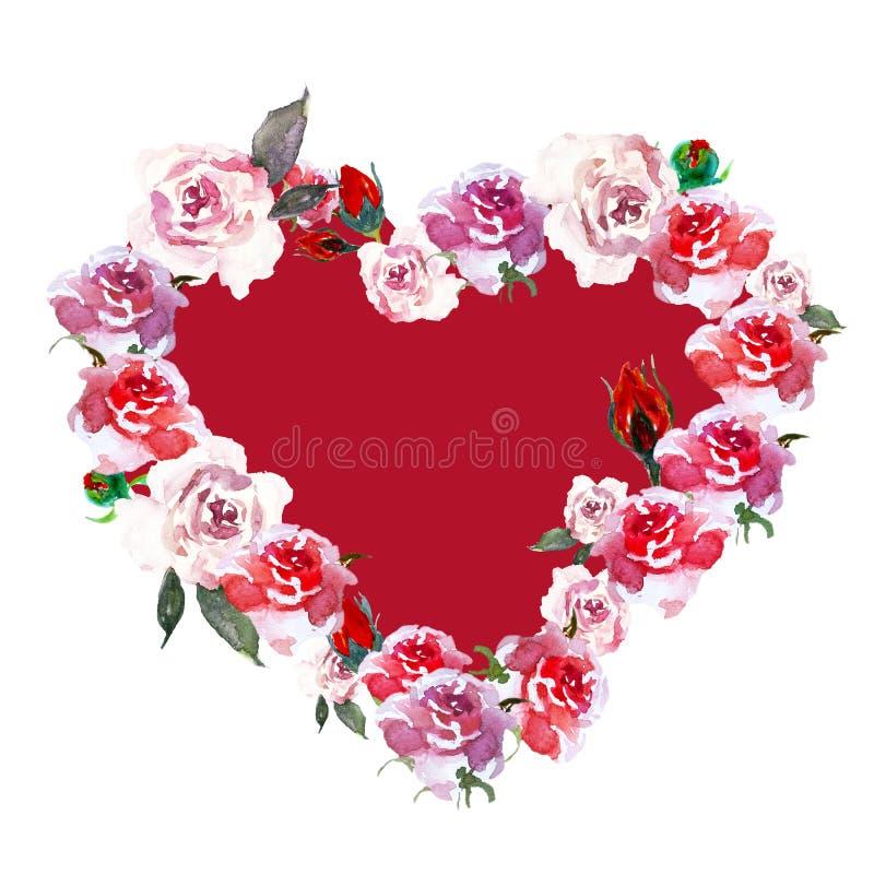 Röd och rosa blommakrans för tappning med vattenfärgrosor på vit bakgrund stock illustrationer