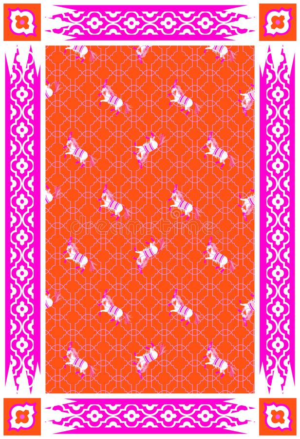 Röd och rosa vektormattdesign för cirkushäst royaltyfri illustrationer