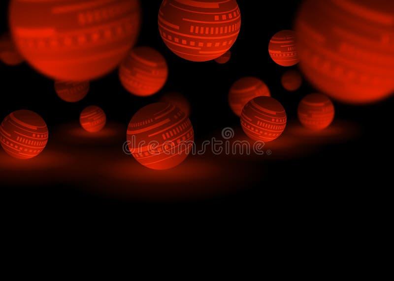 Röd och svart bakgrund för bollteknologiabstrakt begrepp stock illustrationer