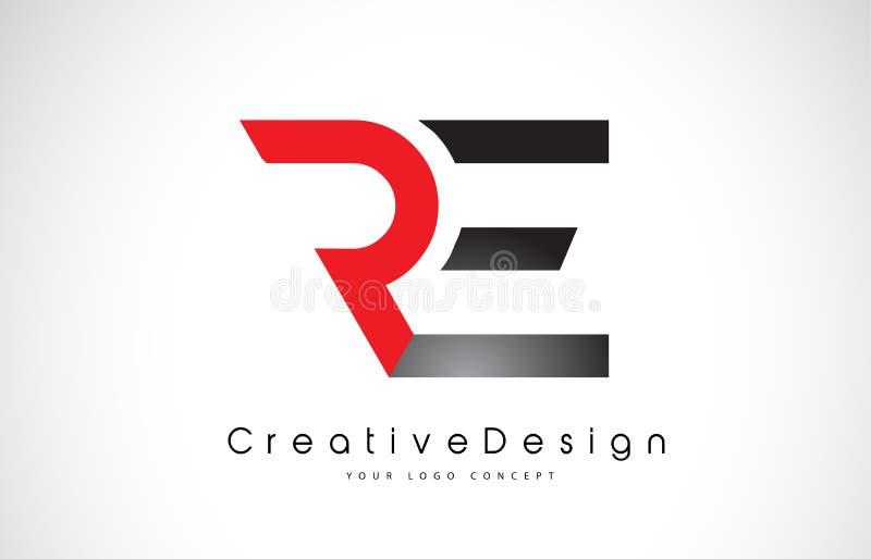 Röd och svart BETRÄFFANDE bokstav Logo Design för R E För bokstavsvektor för idérik symbol modern logo royaltyfri illustrationer