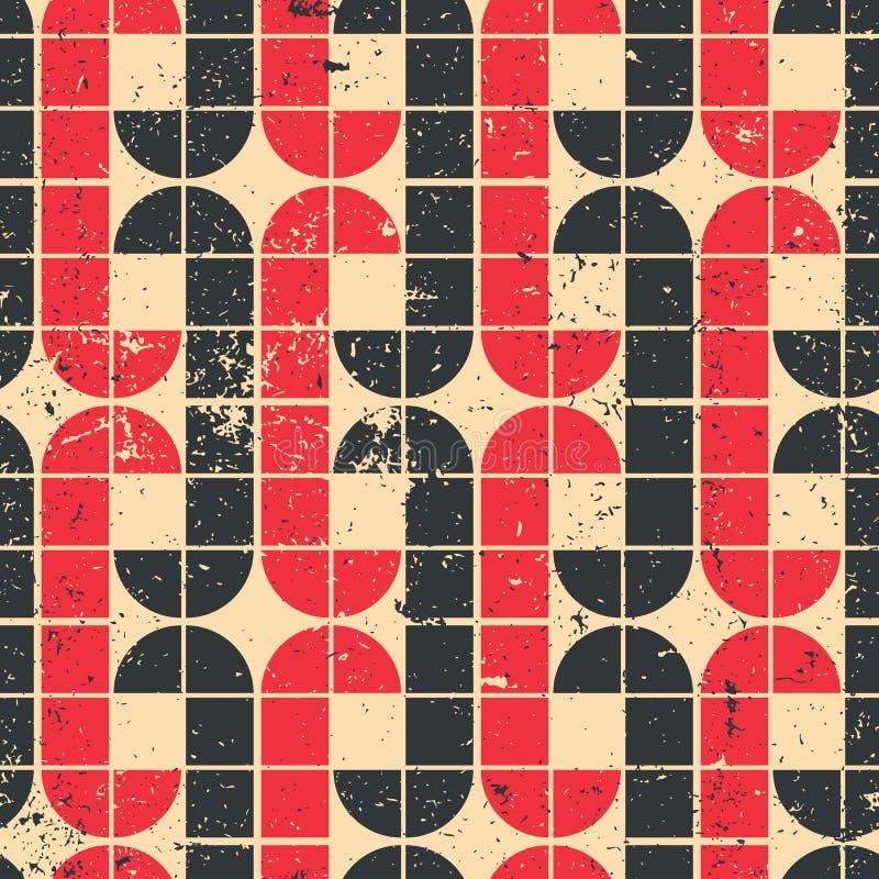 Röd och svart geometrisk sömlös modell för tappning, vektorabstrac royaltyfri illustrationer