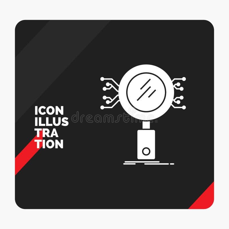 Röd och svart idérik presentationsbakgrund för analys, sökande, information, forskning, säkerhetsskårasymbol stock illustrationer