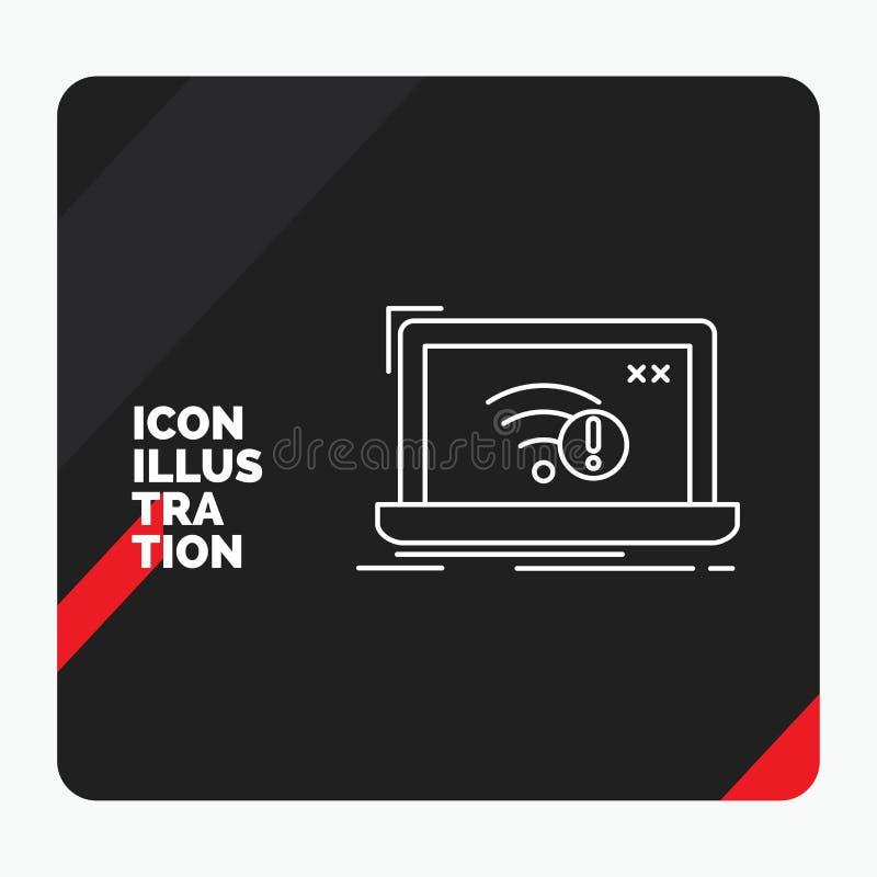 Röd och svart idérik presentationsbakgrund för anslutning, fel, internet som är borttappad, internetlinje symbol stock illustrationer