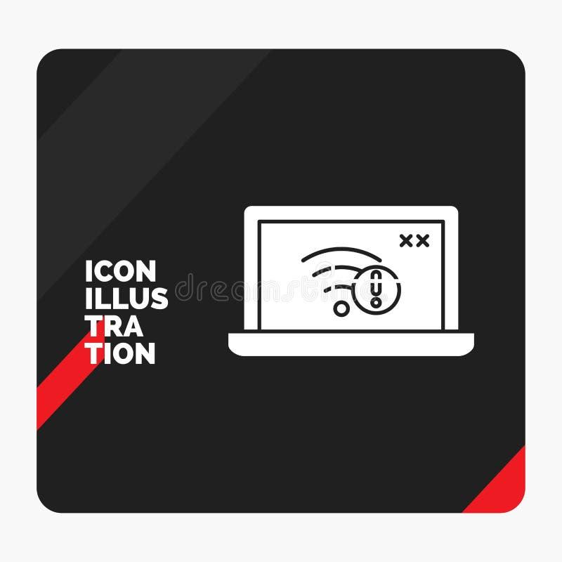 Röd och svart idérik presentationsbakgrund för anslutning, fel, internet som är borttappad, internetskårasymbol royaltyfri illustrationer
