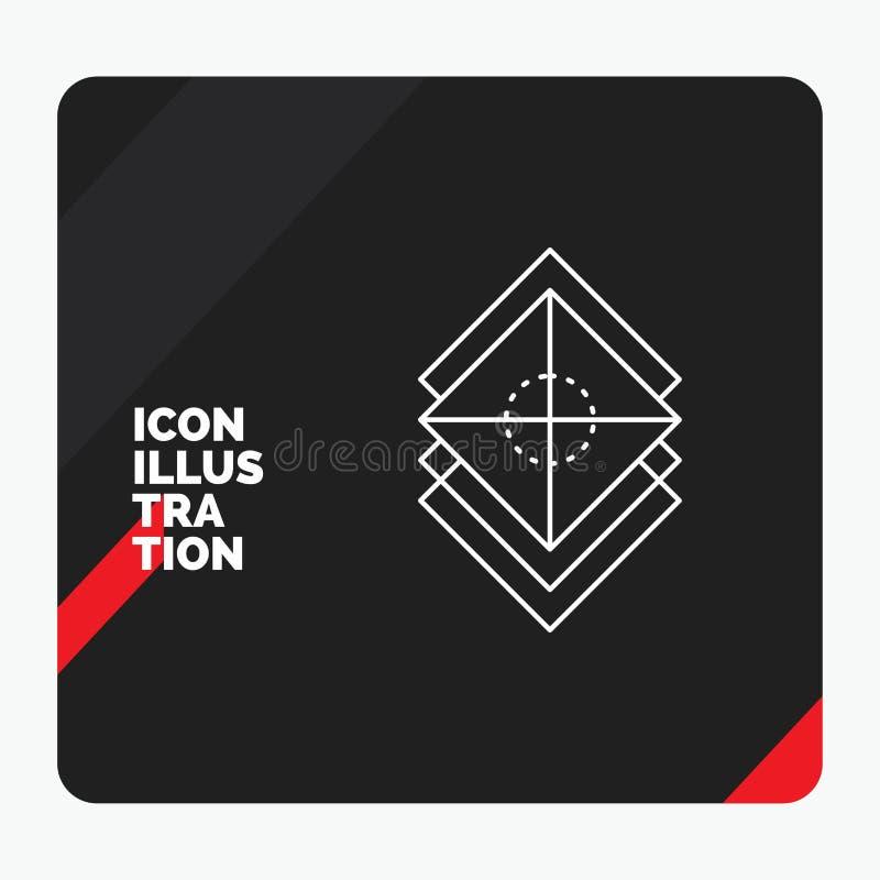Röd och svart idérik presentationsbakgrund för Arrange, design, lager, bunt, lagerlinje symbol vektor illustrationer