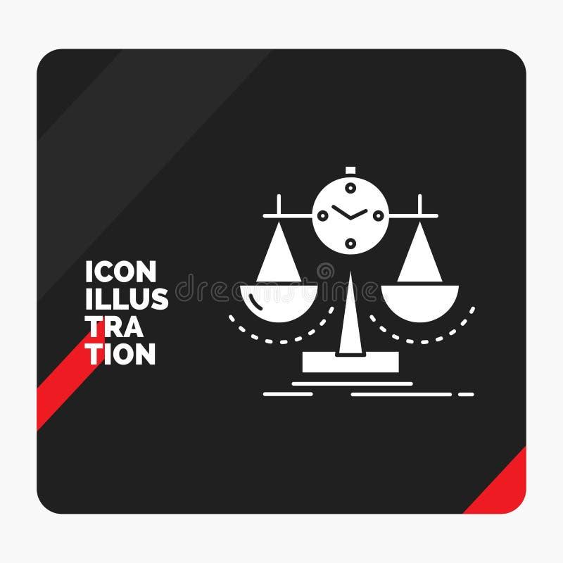 Röd och svart idérik presentationsbakgrund för balanserat, ledning, mått, sammanställningsruta, strategiskårasymbol royaltyfri illustrationer