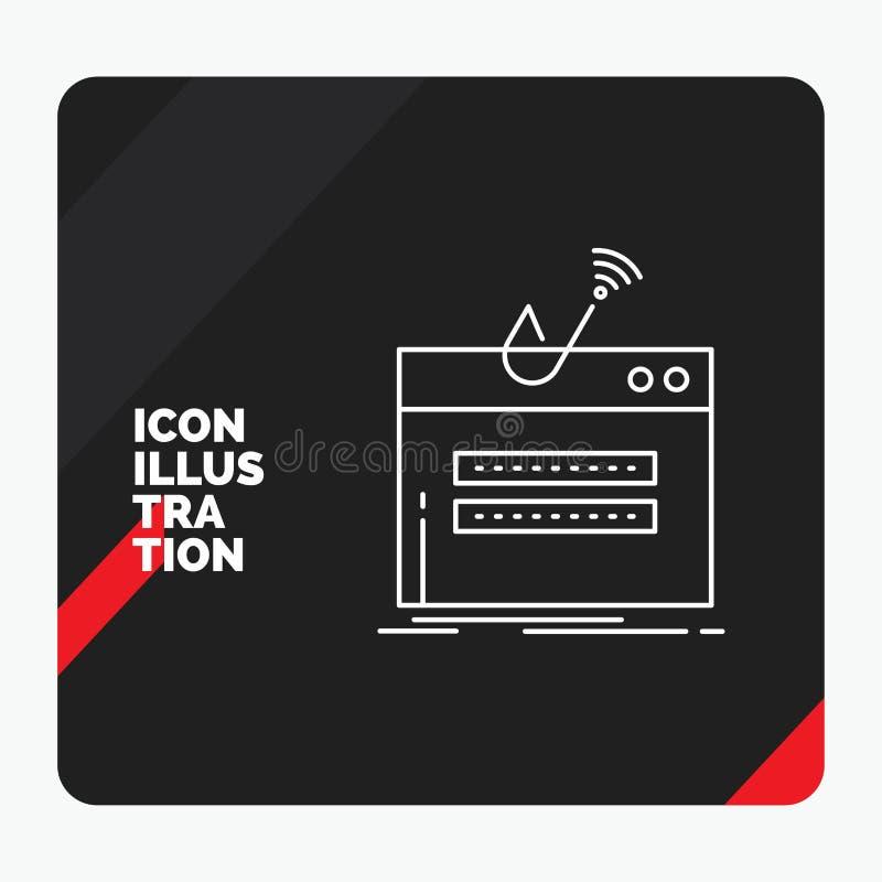 Röd och svart idérik presentationsbakgrund för bedrägerit, internet, inloggning, lösenord, stöldlinje symbol royaltyfri illustrationer