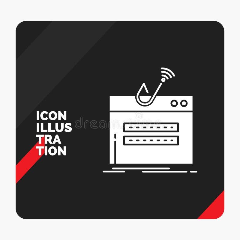 Röd och svart idérik presentationsbakgrund för bedrägerit, internet, inloggning, lösenord, stöldskårasymbol stock illustrationer