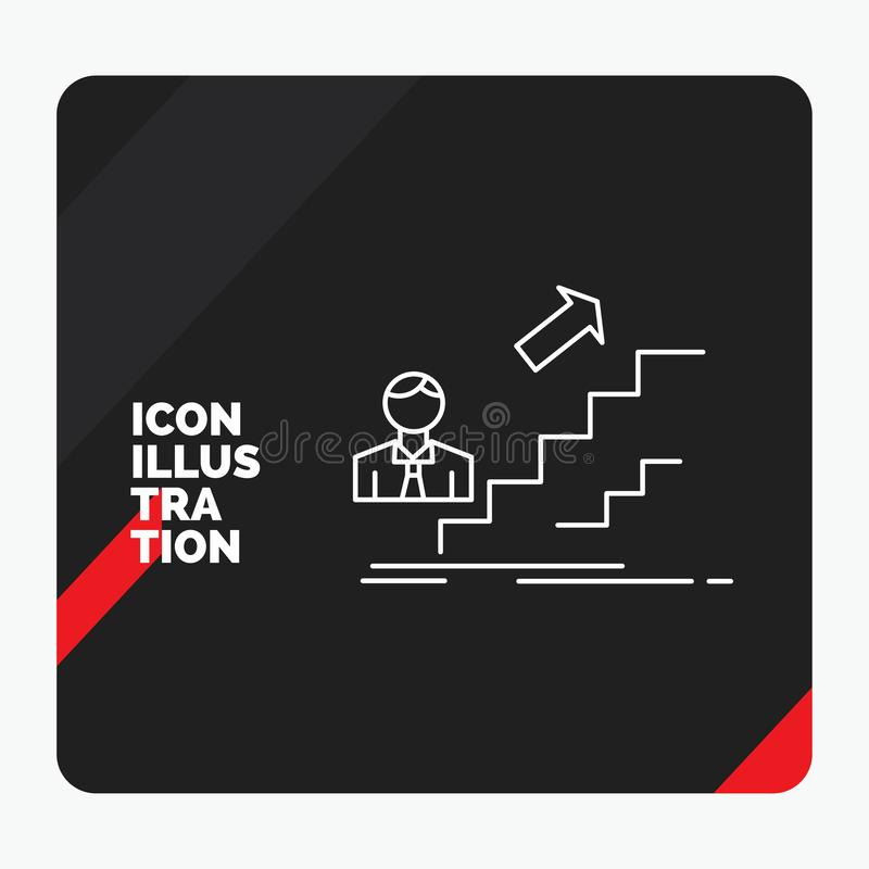 Röd och svart idérik presentationsbakgrund för befordran, framgång, utveckling, ledare, karriärlinje symbol stock illustrationer