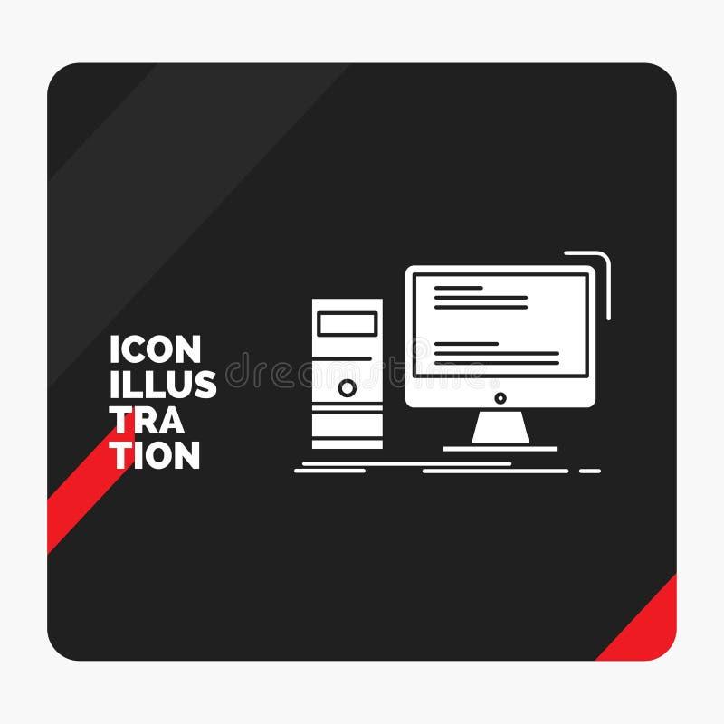 Röd och svart idérik presentationsbakgrund för datoren, skrivbord, dobbel, PC, personlig skårasymbol vektor illustrationer