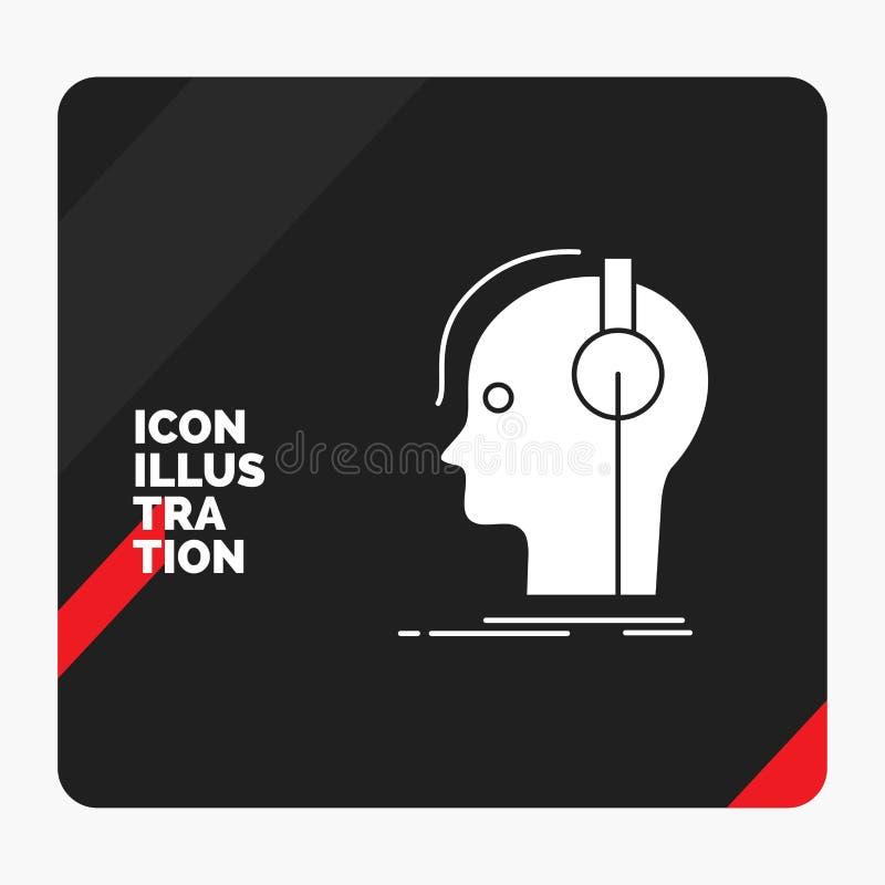 Röd och svart idérik presentationsbakgrund för kompositören, hörlurar, musiker, producent, solid skårasymbol royaltyfri illustrationer