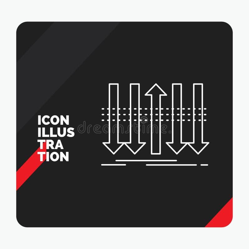 Röd och svart idérik presentationsbakgrund för pil, affär, skillnad som är framåt, egenartlinje symbol stock illustrationer
