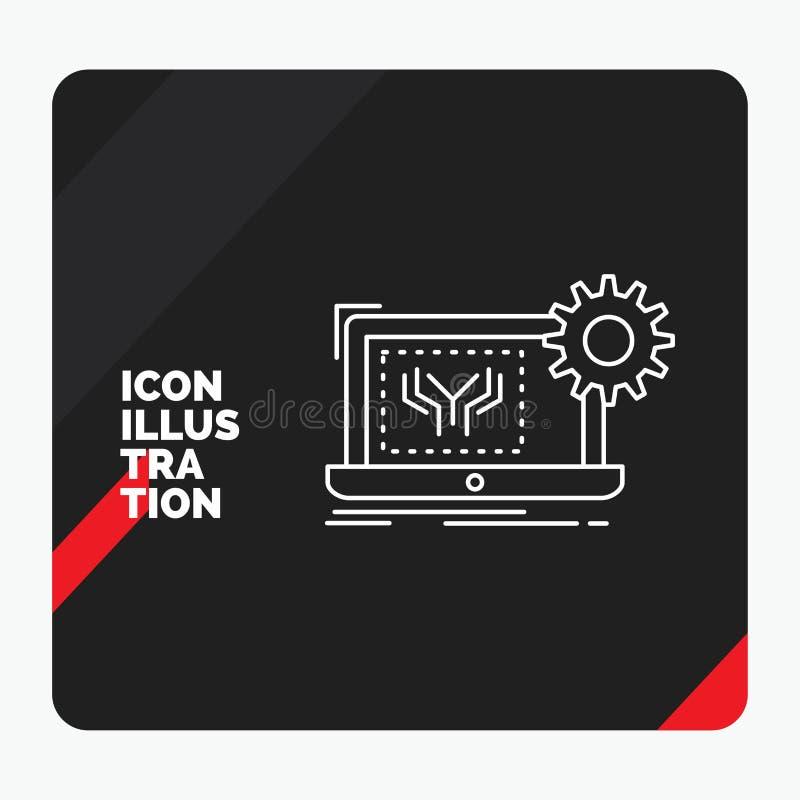 Röd och svart idérik presentationsbakgrund för ritningen, strömkrets, elektronik, teknik, maskinvarulinje symbol stock illustrationer
