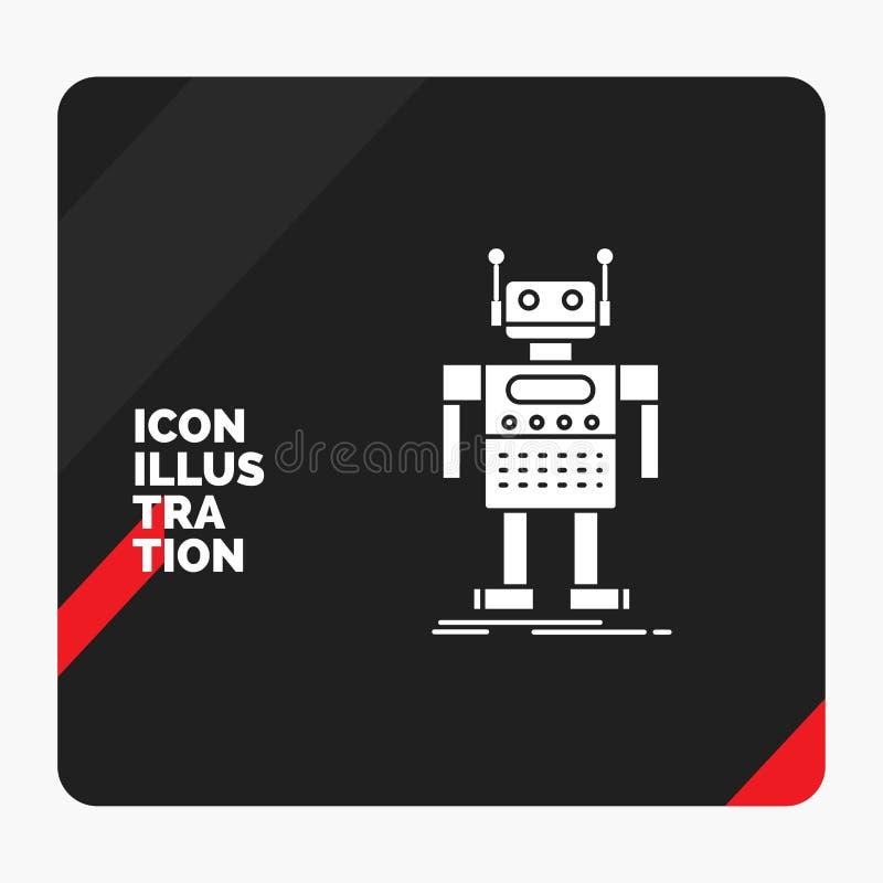 Röd och svart idérik presentationsbakgrund för roboten, Android som är konstgjord, bot, teknologiskårasymbol stock illustrationer
