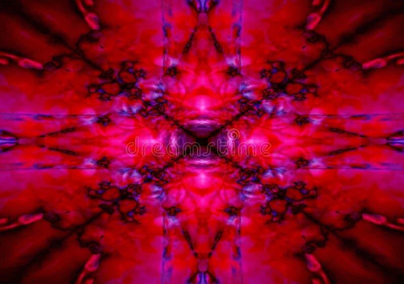 Röd och svart kalejdoskopstjärna royaltyfri illustrationer