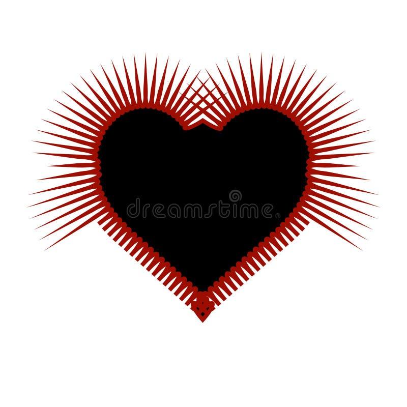 Röd och svart konst för taggig gotisk hjärta vektor illustrationer