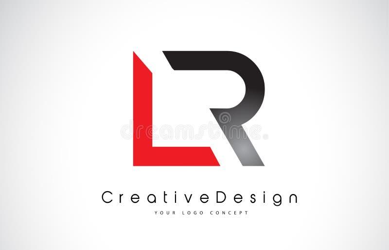 Röd och svart LR L r-bokstav Logo Design För bokstavsvektor för idérik symbol modern logo royaltyfri illustrationer