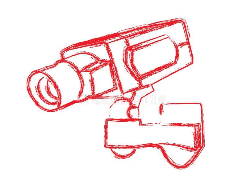 Röd och vit bevakningkamera (CCTV) stock illustrationer