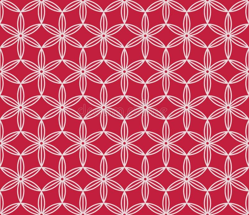 Röd och vit blom- japansk bakgrund Sakura blommar den sömlösa modellen för vektorn, traditionell asiatisk design stock illustrationer