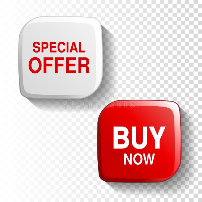 Röd och vit glansig knapp på genomskinlig bakgrund, plast-fyrkantetikett med text - specialt erbjudande, köp nu royaltyfri illustrationer