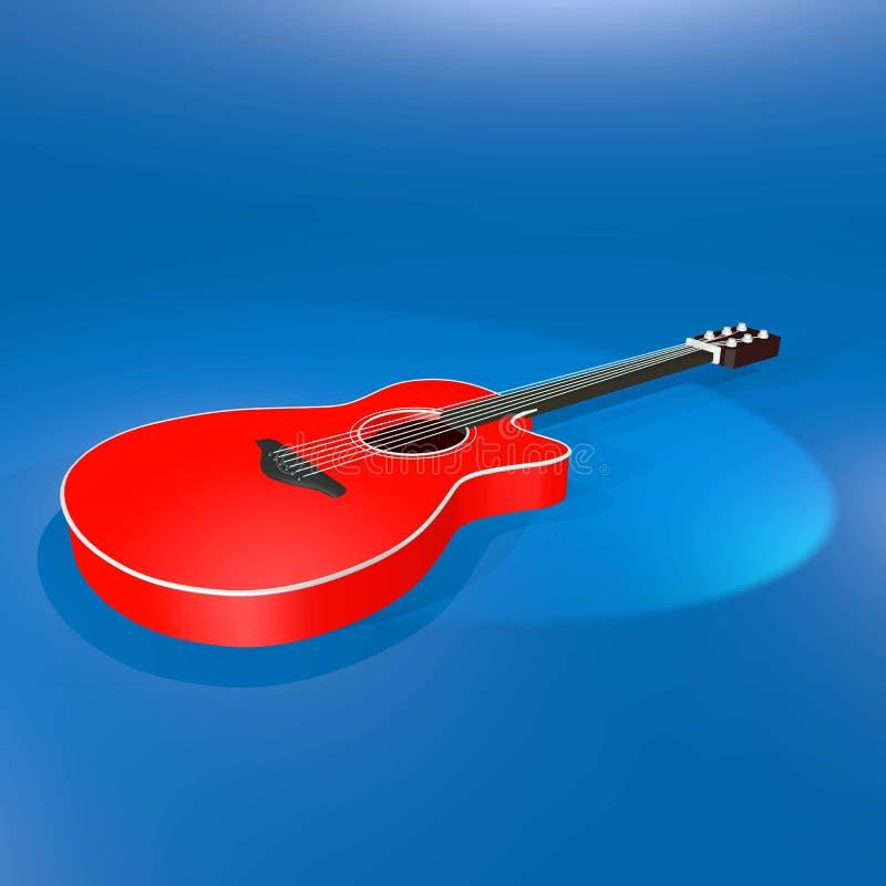 Röd och vit härlig gitarr vektor illustrationer