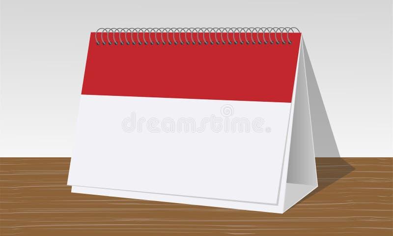 Röd och vit kalender på träskrivbordet stock illustrationer