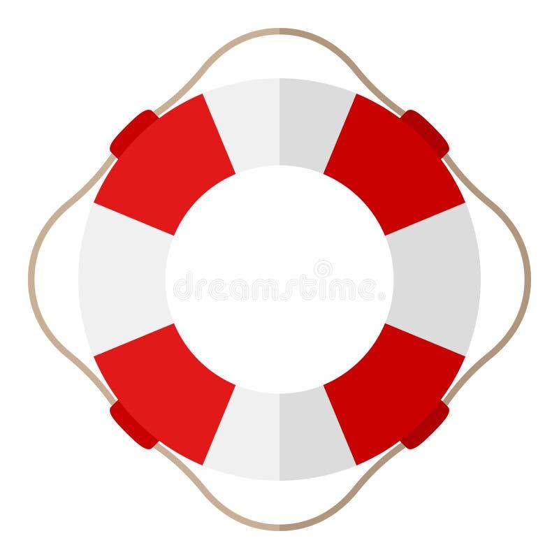 Röd och vit livbojlägenhetsymbol på vit vektor illustrationer