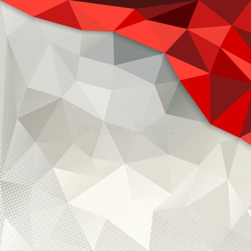 Röd och vit polygonbakgrund royaltyfri illustrationer