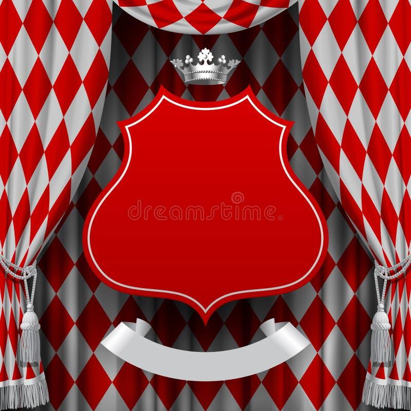 Röd och vit rhomboidsbakgrund med en röd inställd decorati stock illustrationer