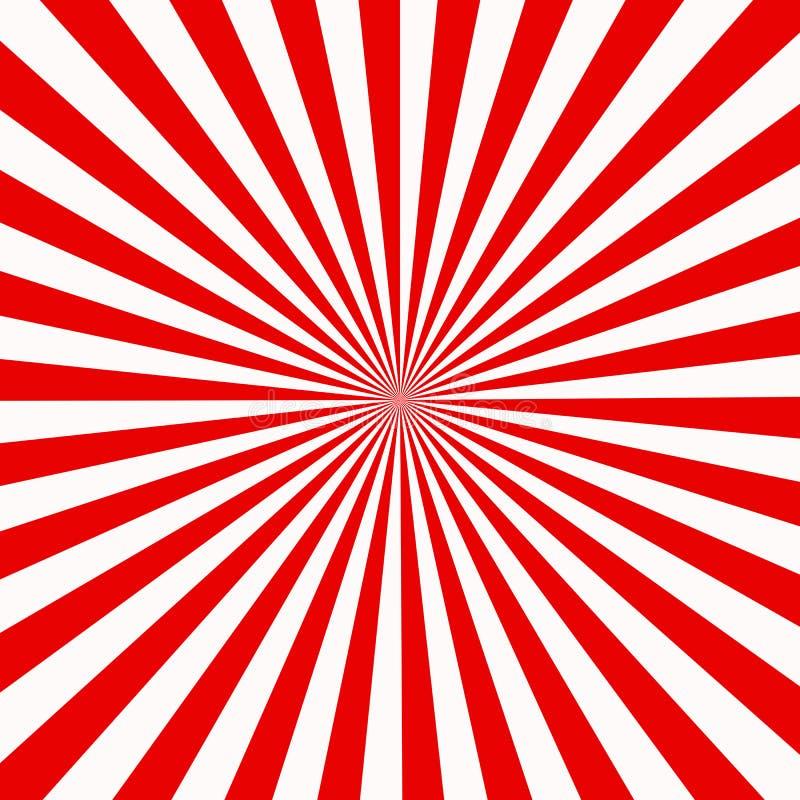 Röd och vit sunburst abstrakt textur skinande starburstbakgrund abstrakt sunburst effektbakgrund röd och vit stråle royaltyfri illustrationer