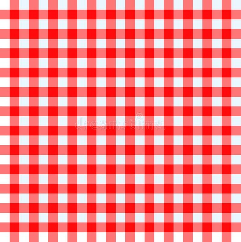Röd och vit tablecloth stock illustrationer