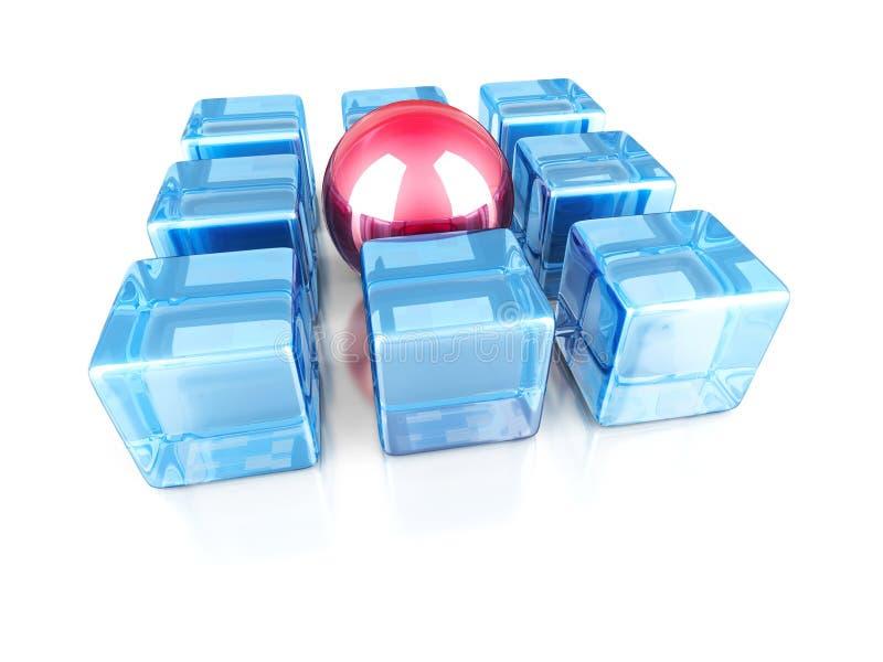 Röd olik glass sfär ut från kubgruppen stock illustrationer