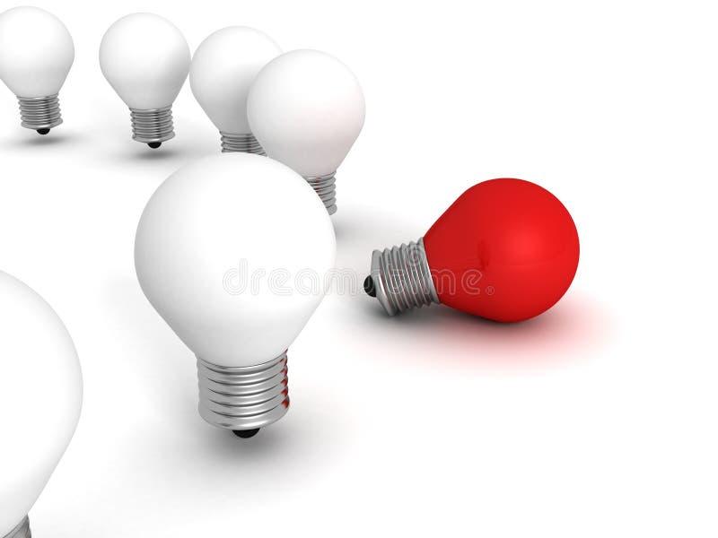 Röd olik lampa för ljus kula för idé ut från den vita folkmassan arkivbilder