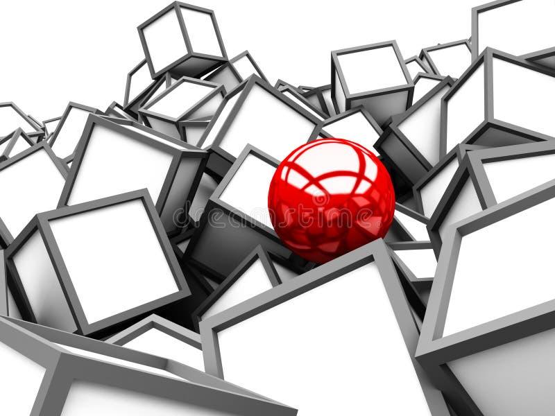 Röd olik sfär bland vita kubkvarter arkivbild