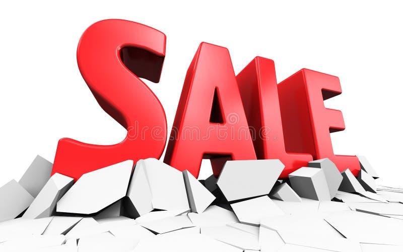 Röd ordtext för 3D Sale royaltyfri illustrationer