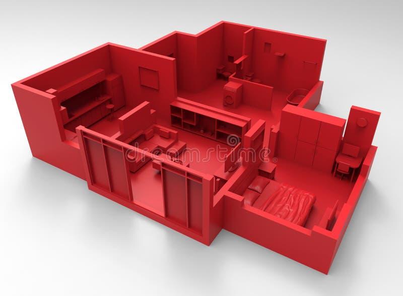 Röd orientering för lägenhet stock illustrationer