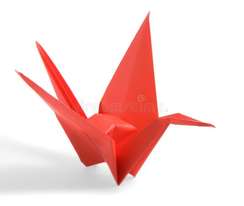 Röd Origami kran royaltyfria bilder