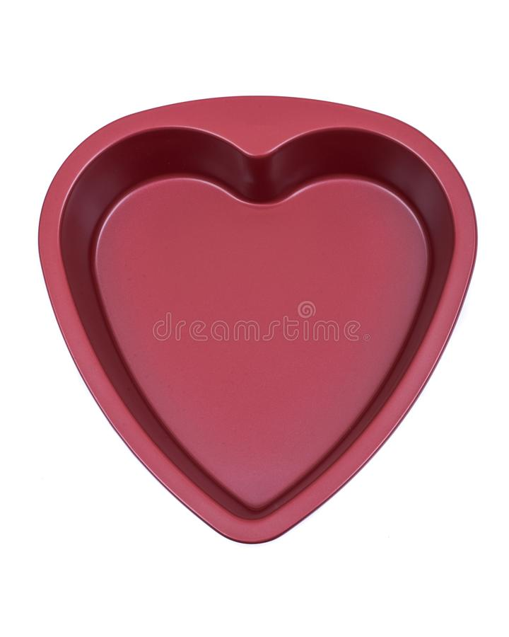 Röd panna för hjärtaform som isoleras på vit arkivfoton