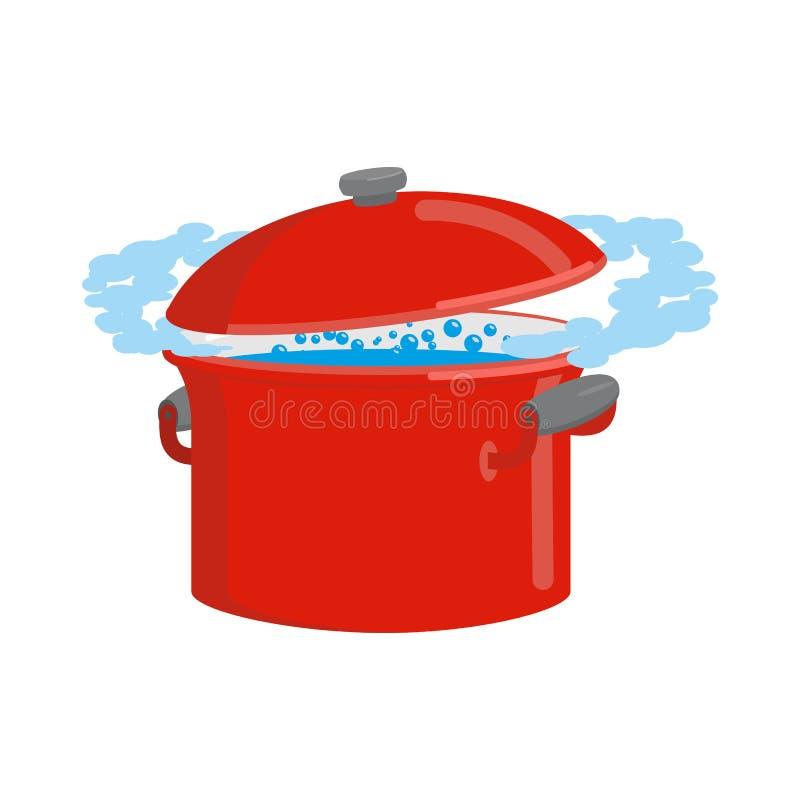 Röd panna med isolerat vatten Köksgeråd för att laga mat stock illustrationer
