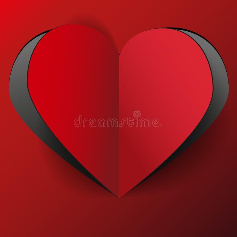 Röd pappers- hjärta royaltyfri illustrationer
