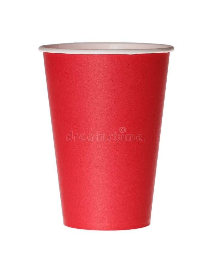 Röd pappers- kopp som isoleras på vit royaltyfria foton
