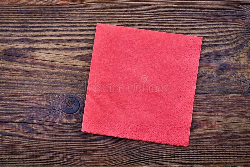 Röd pappers- servett, bästa sikt fotografering för bildbyråer